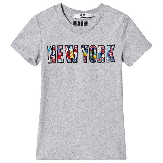 MSGM Grey New York and Floral Applique Tee 101