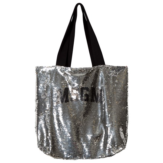 MSGM Silver All Over Sequin Logo Bag 122
