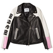 MSGM Black and White Logo Leather Biker Jacket 110