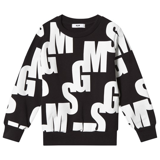MSGM Black All Over Logo Sweatshirt 110
