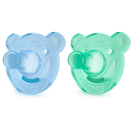 Philips Avent 2-Pack Soothie Shapes Pacifier 3m+ Green/Blue Blå/Turkis