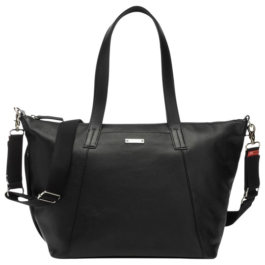Storksak Noa Leather Changing Bag Black Black