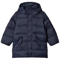 United Colors of Benetton Down Puffa Hooded Coat Navy Marinblå