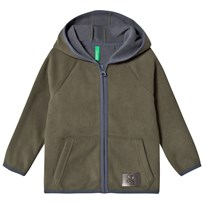 United Colors of Benetton Fleece Zip Hoodie With Contrast Colour Details Khaki Green Khaki Green