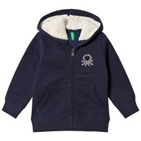 United Colors of Benetton Fleece Lined Logo Hoodie Navy Navy