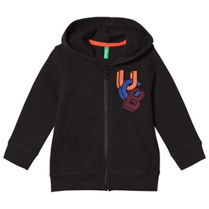 Image of United Colors of Benetton Jersey Zip New Logo Hoodie Black 1Y (12-18 mdr) (2902970693)