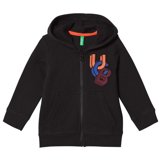 United Colors of Benetton Jersey Zip New Logo Hoodie Black Black
