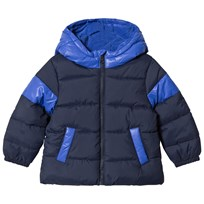 United Colors of Benetton Two Tone Hooded Puffa Jacket Navy Marinblå