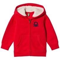 United Colors of Benetton Fleece Lined Logo Hoodie Red Red