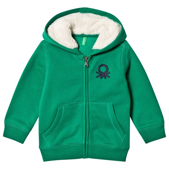United Colors of Benetton Fleece Lined Logo Hoodie Green Green