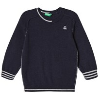 United Colors of Benetton Knit Sweater With Stripe Details Navy Marinblå