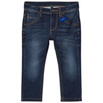 United Colors of Benetton Treated 5 Pocket Denim With Logo Detail Blue Blue
