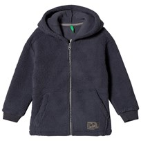 United Colors of Benetton Fleece Zip Hoodie With Contrast Colour Zip Dark Grey Dark grey