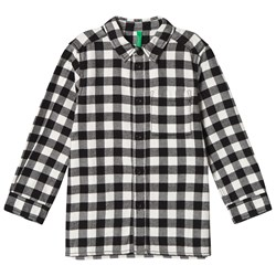 United Colors of Benetton Check Shirt With Graphic Print On Back Black