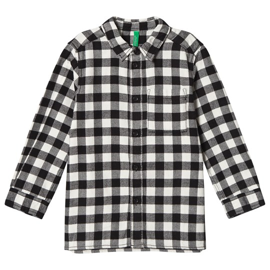 United Colors of Benetton Check Shirt With Graphic Print On Back Black Black