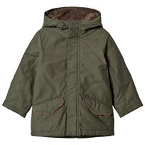 United Colors of Benetton Quilted Parka Coat With Hood Khaki Khaki