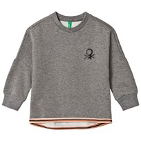 United Colors of Benetton Oversized Jersey Sweater With Dropped Shoulder Mid Grey Mid Grey