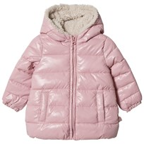 United Colors of Benetton Fleece Lined Hooded Puffa Jacket Pink Pink