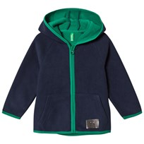 United Colors of Benetton Fleece Zip Hoodie With Contrast Colour Details Navy Navy
