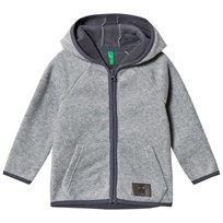 United Colors of Benetton Fleece Zip Hoodie With Contrast Colour Details Melange Grey Melange Grey