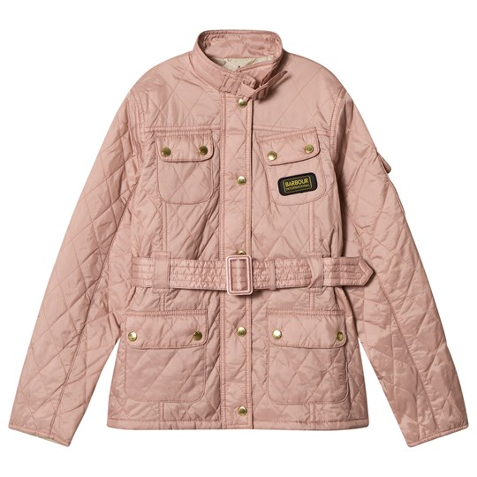 Barbour Pale Pink Flyweight International Quilted Belted Jacket PL15