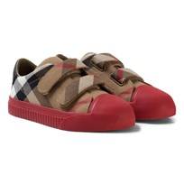 Burberry Beige and Pink House Classic Check Zip and Lace Leather Trainers CLASSIC/PARADE RED