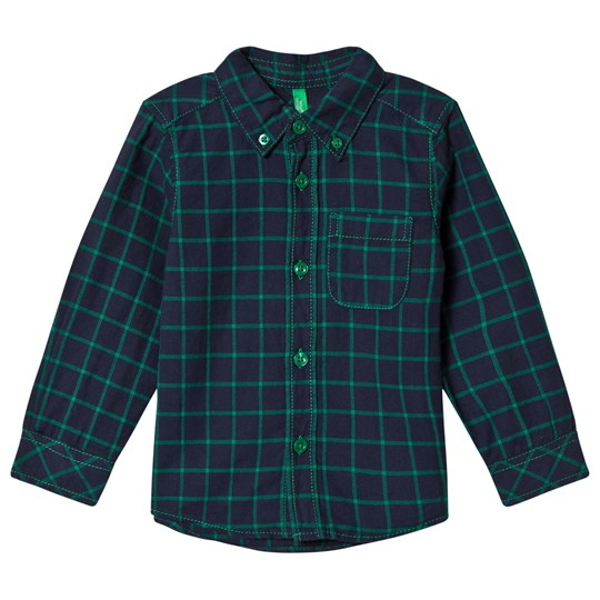 United Colors of Benetton Check Shirt With Button Down Collar Green Green