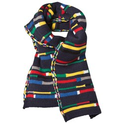United Colors of Benetton Colour Block Knit Scarf Navy Multi