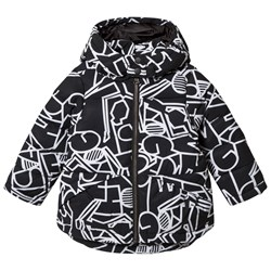 United Colors of Benetton Printed Puffa Jacket With Hood Black