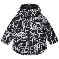 United Colors of Benetton Printed Puffa Jacket With Hood Black Black
