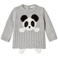 United Colors of Benetton Knit Panda Bear Sweater Melange Grey Melange Grey