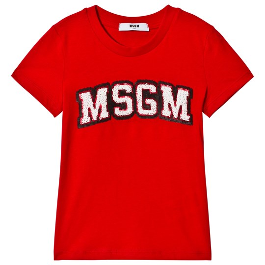 MSGM Red Sequin Logo Tee 040