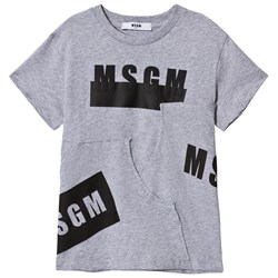MSGM Grey Multi Logo and Panelled Tee