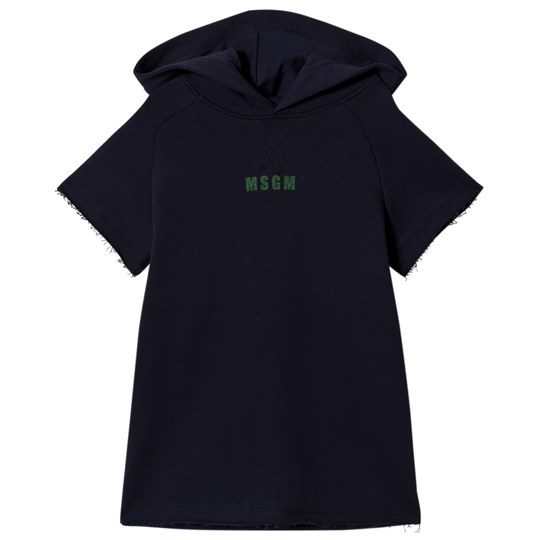 MSGM Navy Logo Short Sleeve Hooded Sweatshirt 060