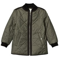 Burberry Olive Long Line Bomber Jacket Olive