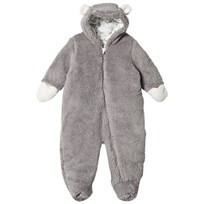 United Colors of Benetton Soft Fleece Panda Bear Snow Suit Grey Black