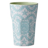 Rice Tall Melamine Latte Cup Mint Lace Print Multi