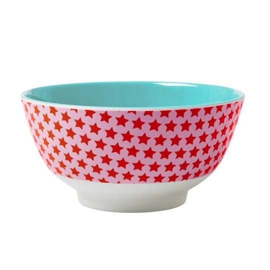 Rice Melamine Bowl Two Tone with Star Print Red Star
