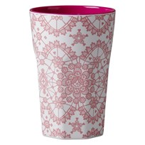 Rice Tall Melamine Latte Cup Coral Lace Print Coral