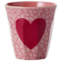 Rice Melamine Medium Cup Heart Print Multi
