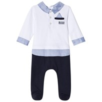 BOSS Jersey Mock Outfit Footed Baby Body White and Navy 0