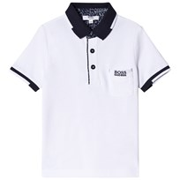 BOSS White Pique Polo with Pocket and Contrast Collar 10B
