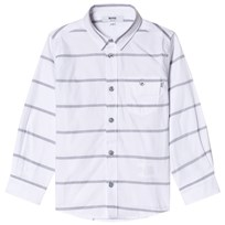 BOSS White Stripe Branded Poplin Shirt N30