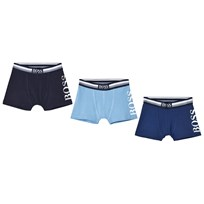 BOSS 3 Pack of Blue Branded Boxers 77K