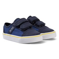 BOSS Navy and Blue Velcro Branded Trainers 828