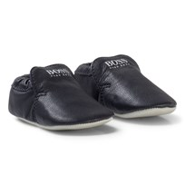 BOSS Navy Branded Leather Booties 849