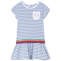The Marc Jacobs Blue Striped Jersey Dress with Glitter Waistband