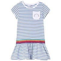 Little Marc Jacobs Blue Stripe Branded Jersey Dress with Glitter Waisband V21