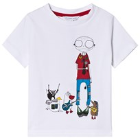 Little Marc Jacobs White Mr Marc and Band Print Tee 10B