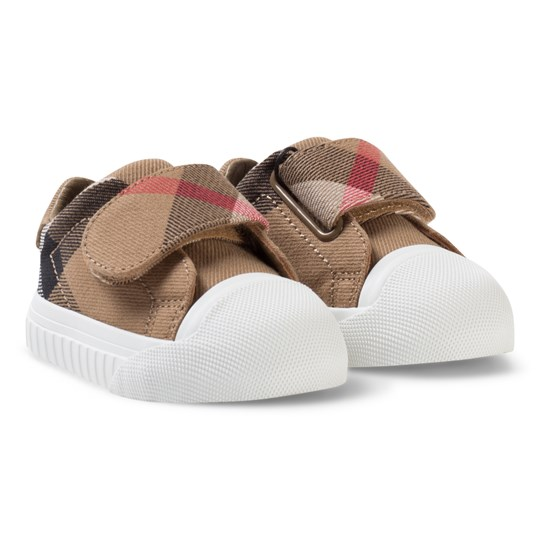 Burberry Pale Classic Check Velcro Trainers CLASSIC/OPTIC WHITE